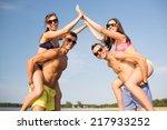 friendship  sea  gesture ... | Shutterstock . vector #217933252