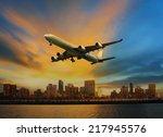 passenger plane flying above... | Shutterstock . vector #217945576