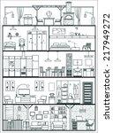 house interior silhouette.... | Shutterstock .eps vector #217949272