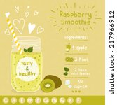 kiwi smoothie recipe. with... | Shutterstock .eps vector #217966912