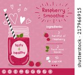 raspberry smoothie recipe. with ... | Shutterstock .eps vector #217966915