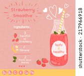 strawberry smoothie recipe.... | Shutterstock .eps vector #217966918