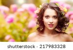 beautiful young woman with... | Shutterstock . vector #217983328