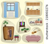 set of vintage furniture and... | Shutterstock .eps vector #218002276