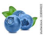 blueberries with leaves on... | Shutterstock . vector #218004022