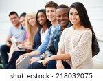 portrait of university students ... | Shutterstock . vector #218032075