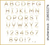 vector gold alphabet letter ... | Shutterstock .eps vector #218032276