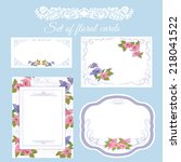 set of floral cards for any... | Shutterstock .eps vector #218041522
