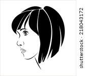silhouette girl in profile  ...   Shutterstock .eps vector #218043172