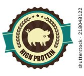 blue vintage high protein icon  ... | Shutterstock . vector #218048122