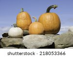 Four Pumpkins Atop A Stone Wal...