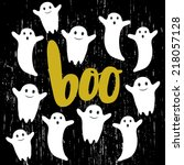 cute halloween invitation or... | Shutterstock .eps vector #218057128