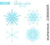set os watercolour snowflakes.... | Shutterstock .eps vector #218060605