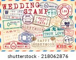 set of wedding postage stamps | Shutterstock .eps vector #218062876