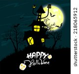 halloween night background with ... | Shutterstock . vector #218065912