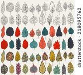 vector set of leaves  outline ... | Shutterstock .eps vector #218095762