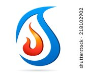 fire flame and water drop  ... | Shutterstock .eps vector #218102902