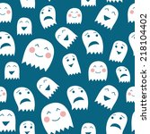 funny halloween ghosts seamless ... | Shutterstock .eps vector #218104402