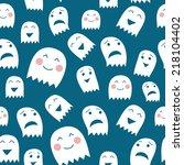 funny halloween ghosts seamless ... | Shutterstock .eps vector #218104402