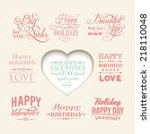 set of valentines day elements. ...   Shutterstock .eps vector #218110048