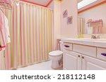 light pink bathroom interior... | Shutterstock . vector #218112148