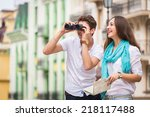 girl and guy on the streets of... | Shutterstock . vector #218117488