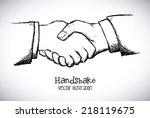 handshake design   over white... | Shutterstock .eps vector #218119675