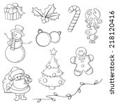 christmas icons hand drawn in... | Shutterstock .eps vector #218120416