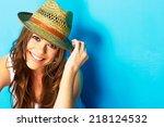 beautiful modern woman portrait ...   Shutterstock . vector #218124532