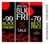 black friday vector vintage... | Shutterstock .eps vector #218126152