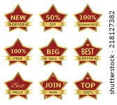 vector red stars labels with... | Shutterstock .eps vector #218127382