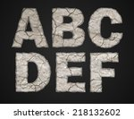 Stone Letters Set. Vector...
