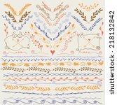 set of hand drawn lines border... | Shutterstock .eps vector #218132842