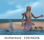 mermaid and seashells   a... | Shutterstock . vector #218146246