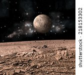 Small photo of An artist's depiction of the view from a rocky and barren alien world. A moon rises over the airless environment. Elements of this image furnished by NASA.