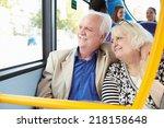senior couple enjoying journey... | Shutterstock . vector #218158648