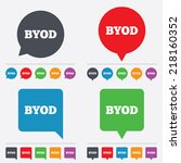 byod sign icon. bring your own... | Shutterstock .eps vector #218160352