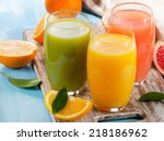 Citrus Juice And Fruits  On...