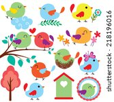 cutie birds clip art set | Shutterstock .eps vector #218196016