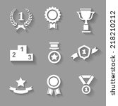 set of white vector award ... | Shutterstock .eps vector #218210212