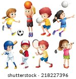 illustration of many children... | Shutterstock .eps vector #218227396