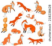Stylized Red Foxes In Differen...