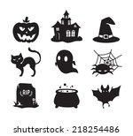 halloween icons set   black... | Shutterstock .eps vector #218254486
