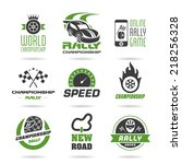 rally icon set  sports icons   2 | Shutterstock .eps vector #218256328