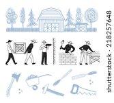 hand drawn contractors  home... | Shutterstock .eps vector #218257648