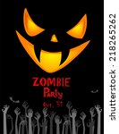 halloween zombie party poster.... | Shutterstock .eps vector #218265262