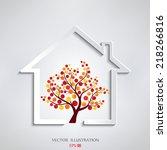 eco house vector | Shutterstock .eps vector #218266816