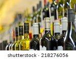 bottles of wine in rows in...   Shutterstock . vector #218276056