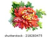 watercolor red flower | Shutterstock . vector #218283475