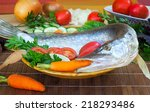 on a table on a chopping board... | Shutterstock . vector #218293486